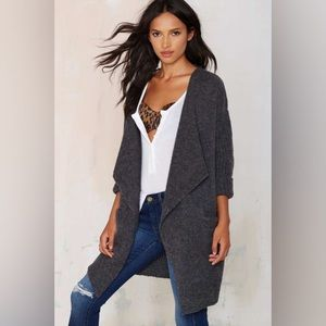 Charcoal Drape Chunky Knit Sleeves Cardigan